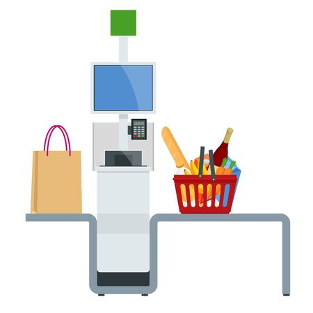 Caissier ou terminal libre-service isométrique. Point avec caisse libre-service dans le supermarché