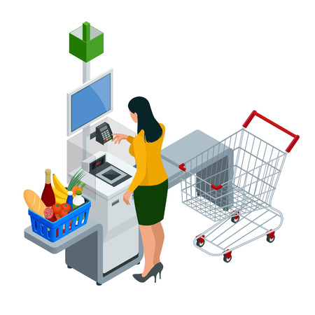 Caissier ou terminal libre-service isométrique. Jeune femme payant au comptoir libre-service à l'aide de l'écran tactile