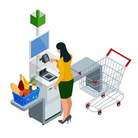 Izometryczny kasjer samoobsługowy lub terminal. Młoda kobieta płacąca w kasie samoobsługowej za pomocą ekranu dotykowego