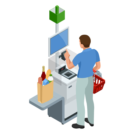 Isometric self-service cashier or terminal. Young man paying at the self-service counter using the touchscreen display