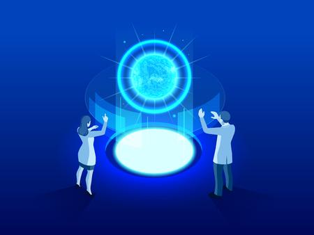 Isometrischer thermonuklearer oder nuklearer Reaktor des High-Tech-Kraftwerks. Entwicklung der Kern- oder Atomtechnik