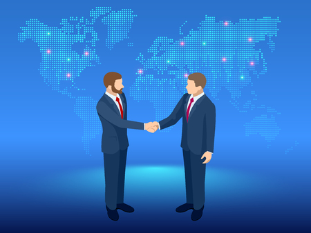 Isometric Global Cooperation. Businessmen shaking hands at the globe. The concept of business agreement and affiliate business Illustration