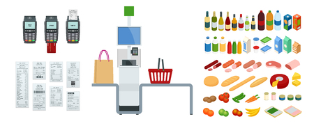 Isometric self-service cashier or terminal. The point with self-service checkout in the supermarket. Illustration