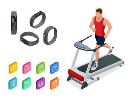 Isometric running on a treadmill and fitness bracelet or tracker isolated on white. Sports accessories, a wristband with running activity steps counter and heartbeat pulse meter Illustration