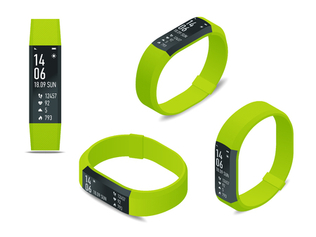 Isometric fitness bracelet or tracker with a smartphone isolated on white. Sports accessories, a wristband with running activity steps counter and heartbeat pulse meter Illustration