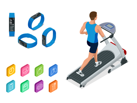 Isometric running on a treadmill and fitness bracelet or tracker isolated on white. Sports accessories, a wristband with running activity steps counter and heartbeat pulse meter