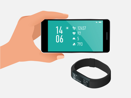Fitness bracelet or tracker with a smartphone isolated on white. Sports accessories, a wristband with running activity steps counter and heartbeat pulse meter Illustration