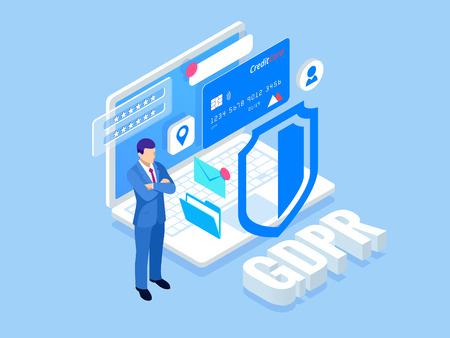 Negocio de seguridad isométrica. Reglamento general de protección de datos concepto GDPR. Idea de protección de datos. Seguridad y privacidad en línea. Software de protección, seguridad financiera