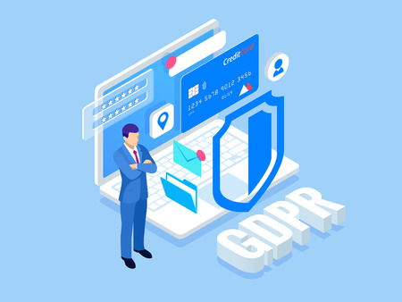 Isometric safety business. General data protection regulation GDPR concept. Idea of data protection. Online safety and privacy. Protection software, finance security