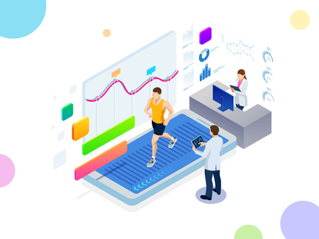 Isometric running on a treadmill and fitness bracelet or tracker isolated on white. Man running on a smartphone treadmill and exercising fitness app and sports under the supervision of doctors 写真素材 - 124516881