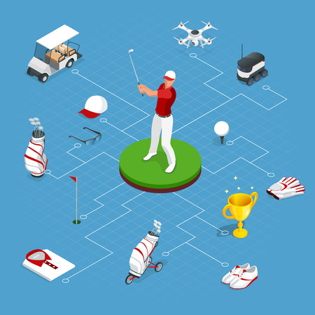 Isometric set of golf elements. Equipment for playing golf