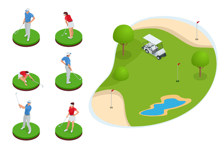 Isometric set of golf elements. Equipment for playing golf isolated vector illustration.