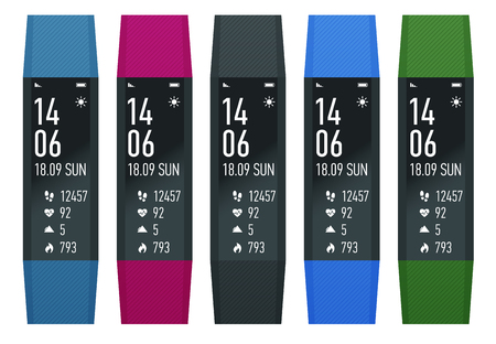 Fitness bracelet or tracker with a smartphone isolated on white. Sports accessories, a wristband with running activity steps counter and heartbeat pulse meter. Illustration