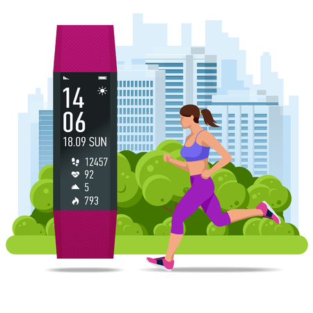 Women s fitness bracelet or tracker, an athlete running outdoors. Jogging and running infographics