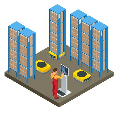 Isometrische automatisierte Lagerroboter. Modernes Logistikzentrum. Isoliert auf weißem Hintergrund.