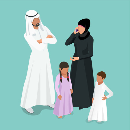 Isometric Arabic Muslim family. Traditonal arab family with children concept. Ilustração