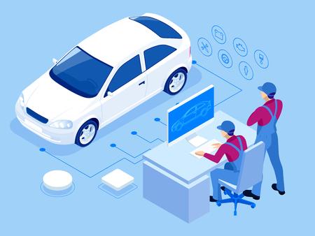 Station de service de réparation automobile isométrique. Travailleurs dans le service de pneus de voiture et illustration vectorielle de réparation de voiture.