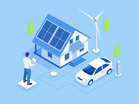 Eco energy and Ecology concept. Green energy an eco friendly modern house. Renewable energy solar and wind power generation Stock Vector - 124255022