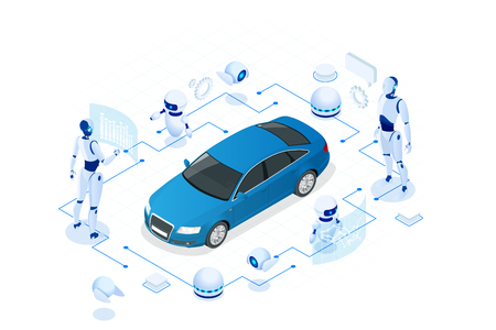 Isometric Cybernetic Robots works with a virtual interface in augmented reality. Virtual computer development of a car model using artificial intelligence. Future concept