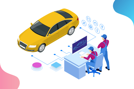 Isometric auto repair service station. Workers in car service tire service and car repair vector illustration.