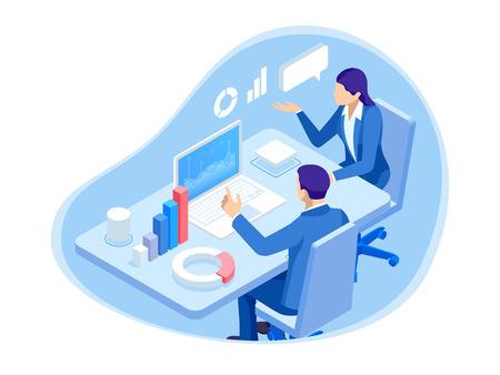 Personajes de gente de negocios isométrica. Análisis de los datos. Trabajo en equipo y colaboración. Personajes de gente de negocios trabajando juntos en el proyecto. Investigación financiera.