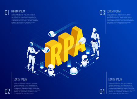 Isometric concept of RPA, artificial intelligence, robotics process automation, ai in fintech or machine transformation