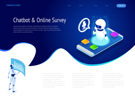 Isometric Chat bot and online survey. Online exam, questionnaire form, online education, internet quiz. Artificial intelligence. AI and business IOT concept. 矢量图片