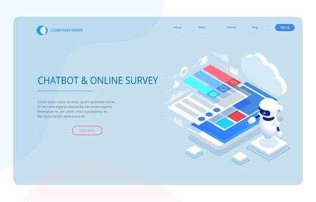 Isometric Chat bot and online survey. Online exam, questionnaire form, online education, internet quiz. Artificial intelligence. AI and business IOT concept.