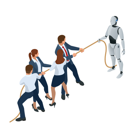 Isometric business people and robot fighting with artificial intelligence in suit pull the rope, competition, conflict. Tug of war and symbol of rivalry. People against machine