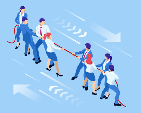 Isometric businessmen and businesswomen in suit pull the rope, competition, conflict. Tug of war and symbol of rivalry Ilustração Vetorial