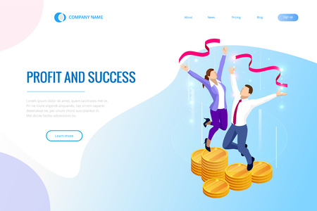 Isometric profit, fortune and success, successful investment concept. Man and woman is glad a lot of money, success, good luck.