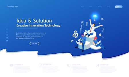 Isometric creative idea and innovation concept. New ideas with innovative technology and creativity. Brain bulb. Business meeting and brainstorming. Idea and business concept for teamwork Illustration