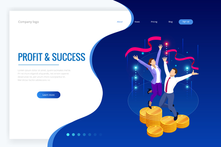 Isometric profit, fortune and success, successful investment concept. Man and woman is glad a lot of money, success, good luck