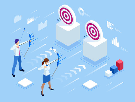 Isometric Businessman and Businesswoman shooting a bow and arrow.