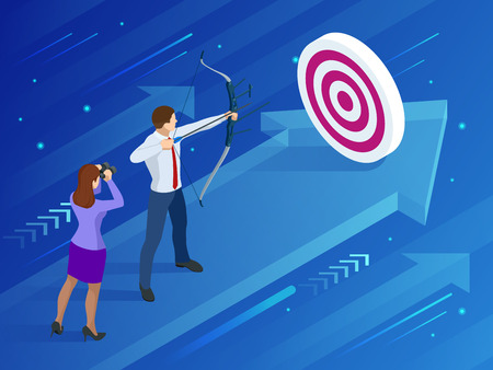 Isometric Businessman shooting a bow and arrow. Success. Иллюстрация