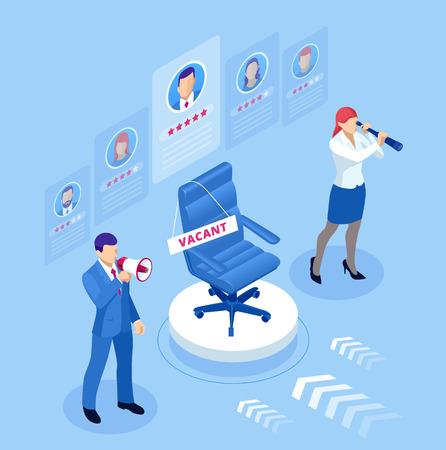 Concept isométrique d'embauche et de recrutement pour la page Web, la bannière, la présentation. Recherche d'emploi en ligne isométrique et concept de ressources humaines Vecteurs