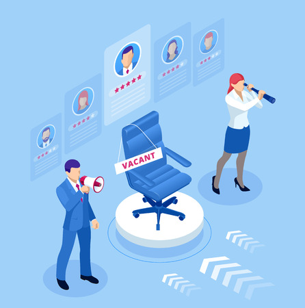 Isometric hiring and recruitment concept for web page, banner, presentation. Isometric Online job search and human resource concept Ilustración de vector