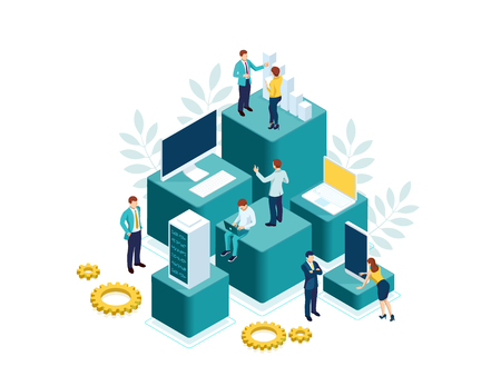 Isometric people work in a team and achieve the goal. People interacting with charts and analyzing statistics. Data visualization concept