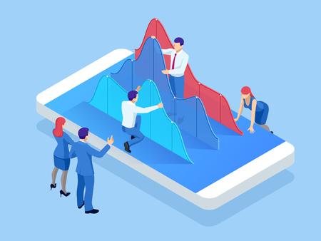 Isometrisches Mobiltelefon mit Diagrammdiagramm. Analyse von Geschäftstrends. Konzept der mobilen Zahlungen, Schutz personenbezogener Daten Vektorgrafik