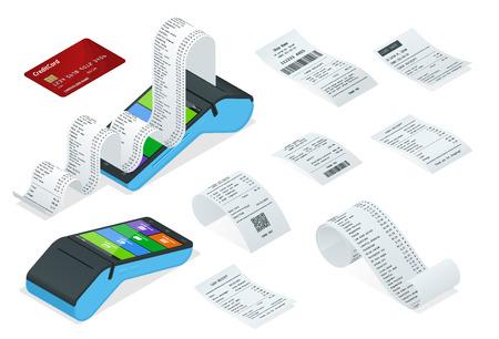 Set isometrico di macchina di pagamento o terminale POS con record di ricevuta, modello di progettazione di bancomat, assegno finanziario cartaceo per mockup