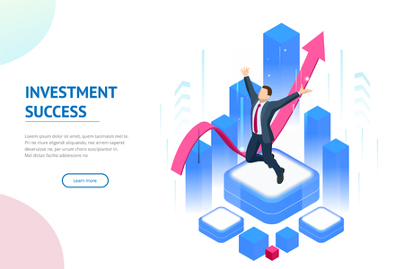 Isometric businessman success, leadership, awards, career, successful projects, goal, winning plan, leadership qualities in a creative team, direction on a successful path concept.