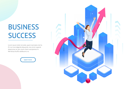 Isometric business woman success, leadership, awards, career, successful projects, goal, winning plan, leadership qualities in a creative team, direction on a successful path concept