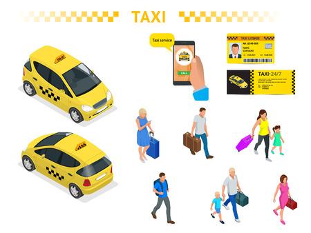 Un grand ensemble d'images isomères d'une voiture de taxi, de personnes voyageant avec des bagages, d'une application d'appel de taxi mobile, d'une licence de taxi et d'un dépliant. Vecteurs
