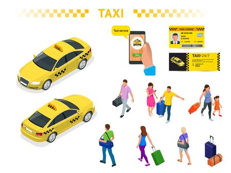 Un gran conjunto de imágenes isoméricas de un taxi, personas que viajan con equipaje, una aplicación de llamada de taxi móvil, una licencia de taxi y un folleto. Conjunto de caracteres. Recreación activa y viajes