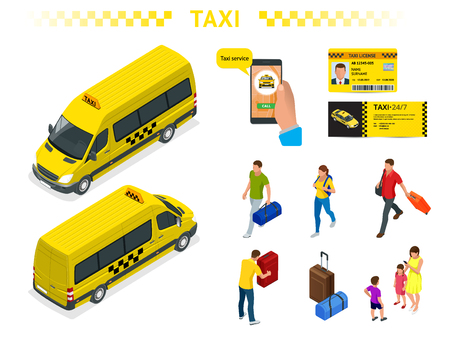 A large set of isomeric images of a taxi car, traveling people with baggage