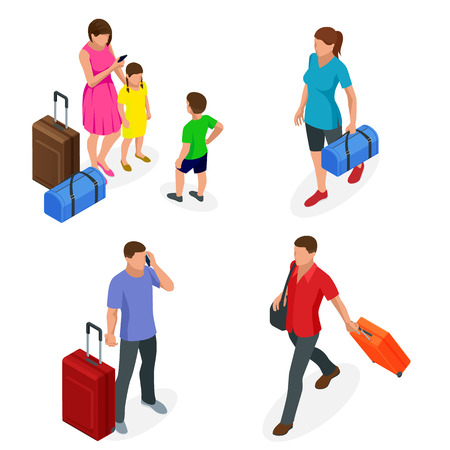 Isometric people with travel bag traveling on vacation. Character set. Active recreation, hiking and adventures Illustration