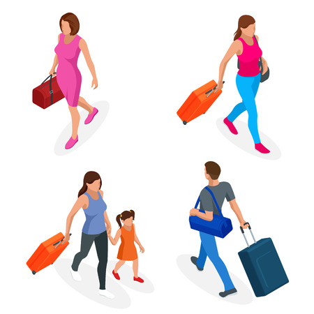 Isometric people with travel bag traveling on vacation. Character set. Active recreation, hiking and adventures Ilustração