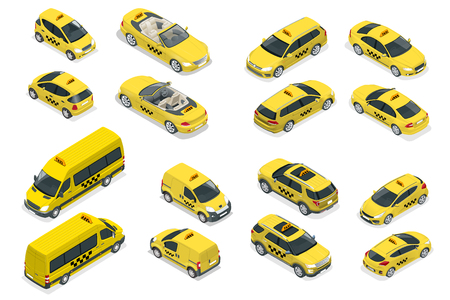 Isometric flat high quality city service transport icon set. Car taxi. Build your own world web infographic collection. Taxi branding mockup Illustration