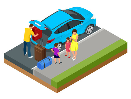 Isometric concept of family car, traveling people with baggage, a mobile taxi call application. Active recreation and travel