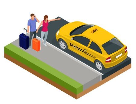 Isometric concept of taxi car, traveling people with baggage, a mobile taxi call application. Active recreation and travel